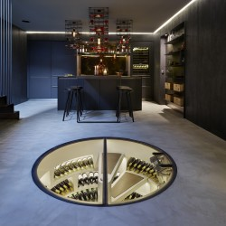 White Spiral Cellar and Hinged Round Glass Door - Kitchen Architecture London - 03