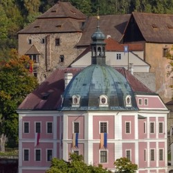 view of palace and castle in Becov nad Teplou, Czech Republic