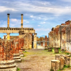Ancient ruins of the Forum in Pompeii