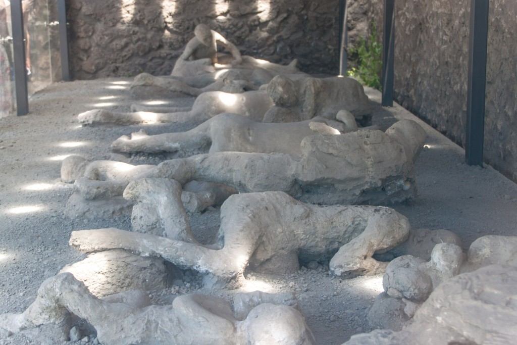 Plaster cast of the victims covered in ash, Pompeii