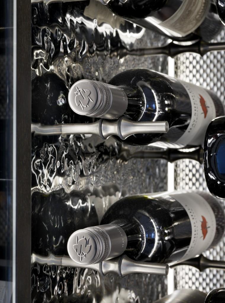 Spiral Cellars wine cabinet showing bottles of fine red wine