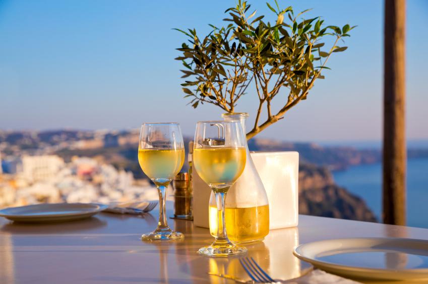 Romantic table for two on the island Santorini, Greece