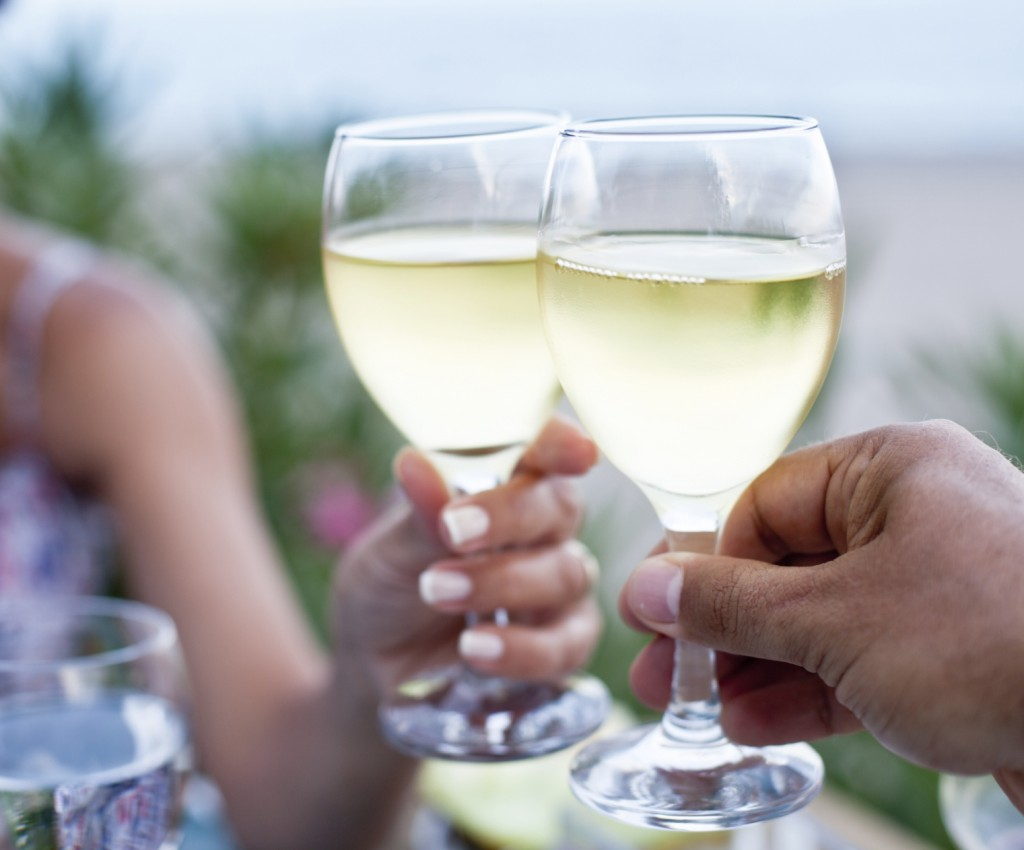 Toast for two to the sea during dinner.