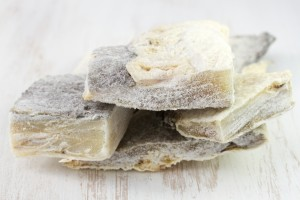 salted codfish on the white table