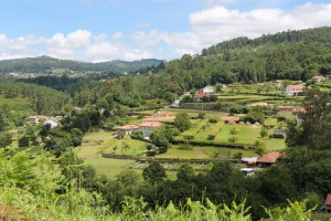 View on houses in the countryside at Paredes de Coura in Norte region, Portugal