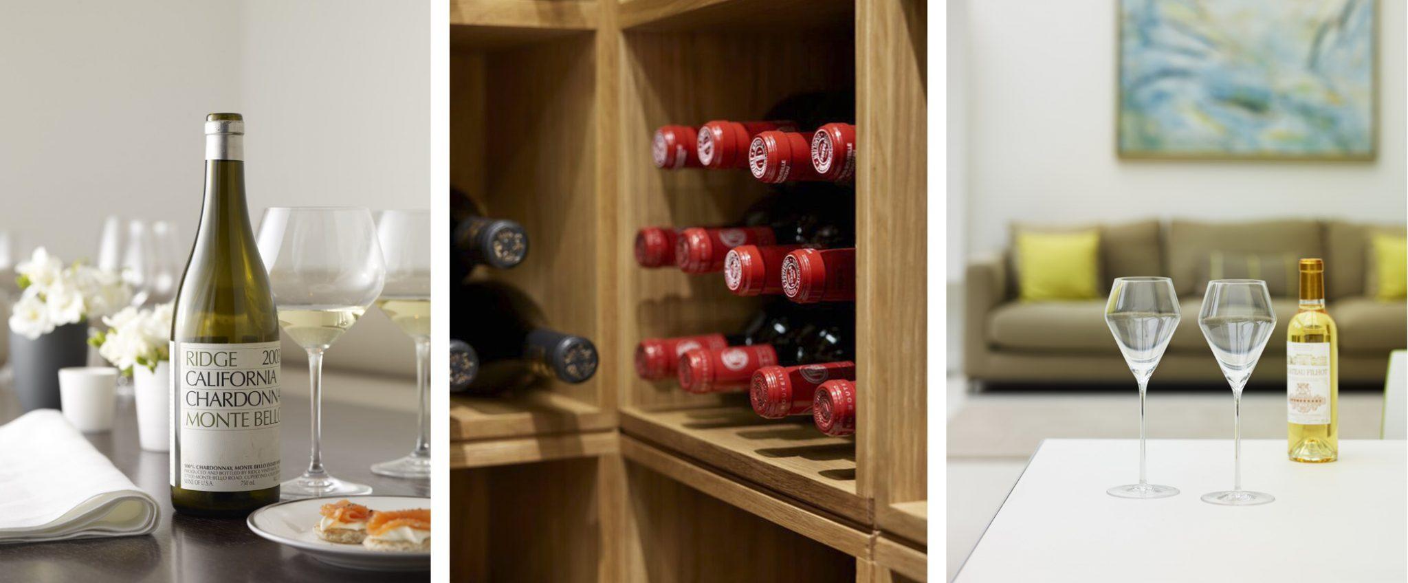 Montage of Wine Bottles & Glasses
