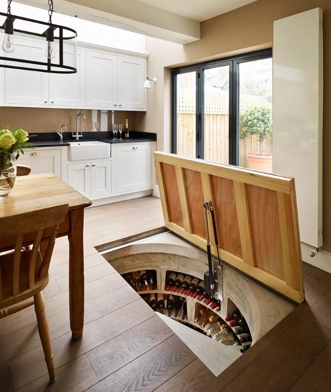 A hidden spiral cellar in a kitchen