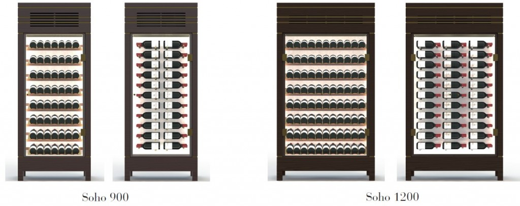The Spiral Cellars Soho 900 wine cabinet and Soho 1200 wine cabinet