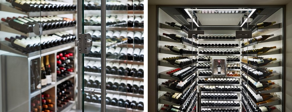 Spiral Cellars wine room with glass doors and lights holding a wine collection