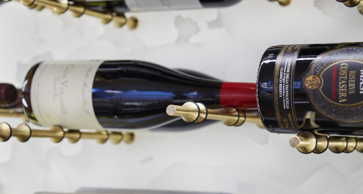 Wine on display in wine cabinet