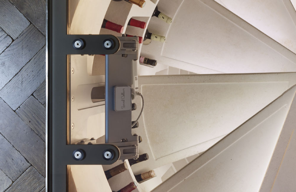 steps leading to wine storage in spiral cellar