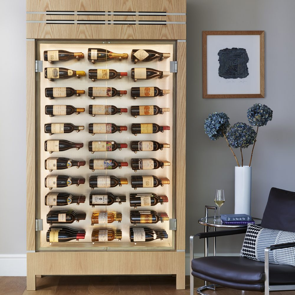 Wine cabinet in living area of apartment